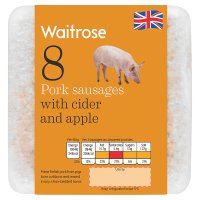 Waitrose 8 British Outdoor Bred pork sausages with cider and apple