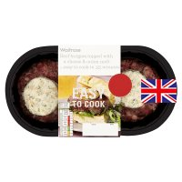 Waitrose Easy To Cook 2 Beef burgers topped with a cheese & onion melt