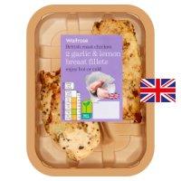 Waitrose 2 British garlic & lemon roast chicken breast fillets.