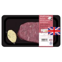 Waitrose British sirloin beef steak with Roquefort butter