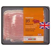 Waitrose thin cut hickory smoked streaky bacon