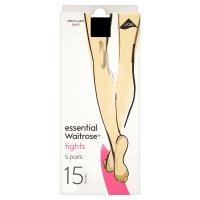 essential Waitrose 15 denier black tights, pack of 5 (medium - large)