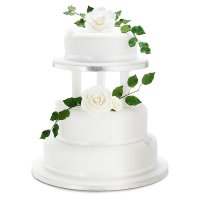 Rose & Butterfly Wedding Cake (White) - Fruit (Raised Top Tier) - 3 Tier