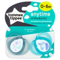Tommee Tippee 0-6month anytime soother, pack of 2, assorted