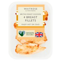 Waitrose 4 British skin on roast chicken breast fillets