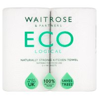 Waitrose ECOlogical Kitchen Towels White