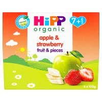 Hipp organic fruit and pieces, apple & strawberry - stage 1