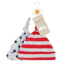Waitrose 2PK BOYS STAR/STRIPE KNOTTED HAT