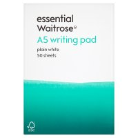 essential Waitrose A5 plain writing pad, pack of 50 sheets
