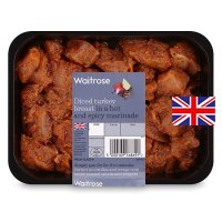 Waitrose British diced turkey breast in hot & spicy marinade