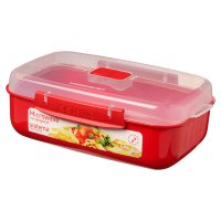 Sistema 1.25 litre red rectangular container