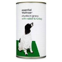 essential Waitrose chunks in gravy rabbit & turkey