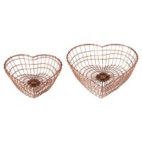 Waitrose 2 Copper Wire Heart Baskets