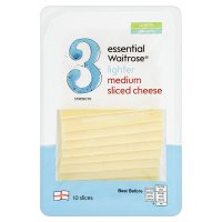 essential Waitrose lighter medium cheese, strength 3, 10 slices