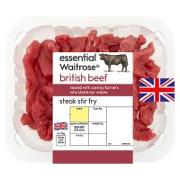 essential Waitrose British beef steak stir fry
