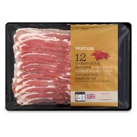 Waitrose 12 British Outdoor Bred smoked and sweetcured with maple syrup streaky bacon rashers
