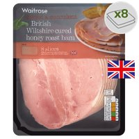 Waitrose British Wiltshire cured honey roast ham, 8 slices