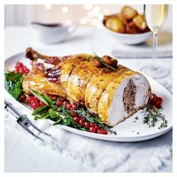Easy carve turkey deboned and stuffed with ginger stuffing