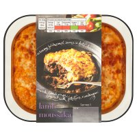 menu from Waitrose lamb moussaka