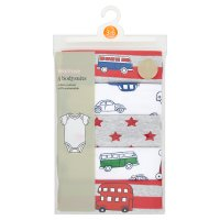 Waitrose 5PK BOYS BODYSUIT - TRAVELLER 9-