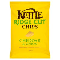 Kettle ridge cut chips Cheddar & onion