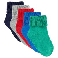 Waitrose multi-coloured roll top baby socks 5 pack