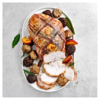 Butter basted turkey breast with 12 stuffing balls
