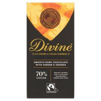 Divine Fairtrade 70 dark chocolate with ginger & orange