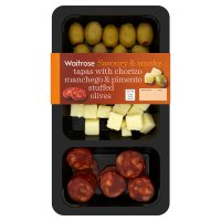 Waitrose tapas platter with chorizo manchego & pimento stuffed olives