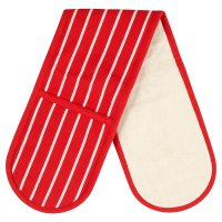 Waitrose Cooking red butchers stripe double oven glove