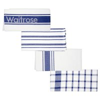Waitrose Cooking blue tea towel, set of 4