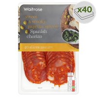 Waitrose Spanish chorizo, 40 slices
