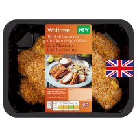 Waitrose British mexican style tortilla breaded chicken thighs