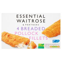 essential Waitrose Frozen 4 breaded pollock fillets