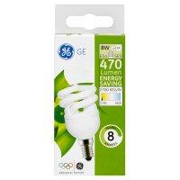 GE energy saving 470 lumen 8W E14 SES spiral