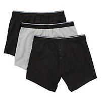 John Lewis M Trunks 3 pack button fly blk/grey
