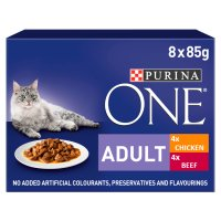 Purina ONE Adult Cat Mini Fillets in Gravy - Chicken & Beef Wet food pouch
