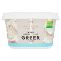 Waitrose 1 Greek natural fat free strained yogurt