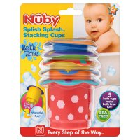 Nuby splish splash stacking cups, pack of 5