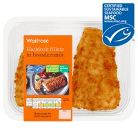 Waitrose MSC 2 line caught haddock fillets in breadcrumbs