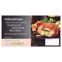 Waitrose Frozen salmon & watercress fish cakes 2s