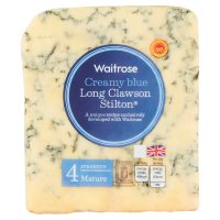 Waitrose creamy blue mature Long Clawson Stilton cheese, strength 4