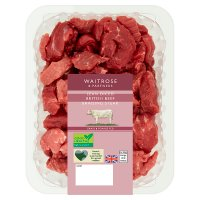 essential Waitrose British beef extra lean diced braising steak
