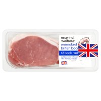 essential Waitrose 12 unsmoked back bacon rashers