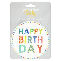 Waitrose Party happy birthday badge