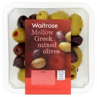 Waitrose Greek mixed olives in a herb dressing