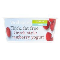 Waitrose thick fat free Greek style raspberry yogurt