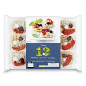 Waitrose canap s mozzarella olive 12s waitrose for Mozzarella canape