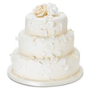 Fiona Cairns Ivory Rose Petal 3 Tier Wedding Cake Mixed