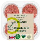 Duchy Originals from Waitrose 4 organic British beef burgers - 0.34kg